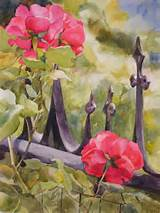 24x18 watercolor scene of an old garden gate surrounded by red roses