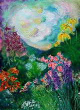 dream garden four abstract mixed media painting by carol engles