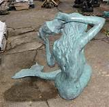Photo of Large Bronze Mermaid Sculpture Fountain Garden Art