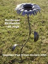 handcrafted ironwork four foot sculpted metal art sunflower birdfeeder