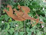 rusted steel garden sculpture