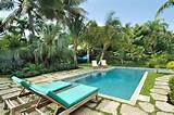 tropical pool chaise lounges palms greenswimming poolcraig