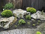 small japanese rock garden through a walkway