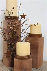 Primitive Decor Country Candle Holders wood and canning jar lids. So ...