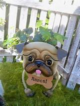 personalized pug garden planter with fresh greens arrangement garden