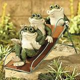 frogs on a slide yard decor garden statue sculpture at clay county