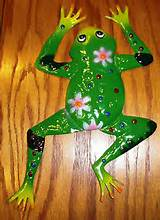 indoor outdoor garden yard metal hanging wall art frog decorative