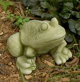 frank frog sculpture garden decor shown in natural finish with moss