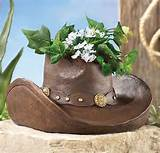 cowboy hat planter garden statue garden outdoor yard decor