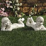 lying down kids boy and girl garden statues outdoor yard decor
