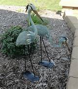 outdoor garden decor steel metal yard sculpture statue heron decoy