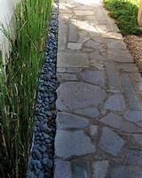Contemporary Blue Outdoor Garden Patio Decorating Pebbles in Pathway