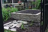 raised herb garden made with flagstone drywall