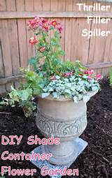 diy container flower garden for shade using the thriller filler