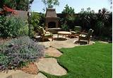 backyard landscape design with barbeque