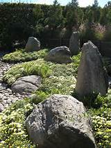 Rock gardens and formations for use in backyard outdoor zen gardens.