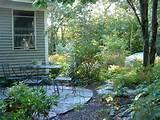 stone patio shade garden landscape