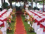 Simple Outdoor Wedding Decorations With Red And White Chairs For ...