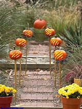 garden pathway ideas for fall 9 pumpkins line a garden