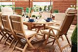 wooden garden furniture displaying luxury outdoors
