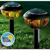lighting heating set of 2 solar powered tiffany garden lights