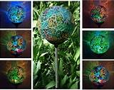 crackle glass ball multi color change garden stake yard led light