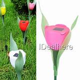 pink tulip led solar light courtyard lawn garden decorative lights