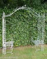 details about metal garden lovers arch and seats trellis blue