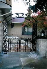 Custom Wrought Iron Garden Arch with Double Iron Gates