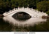Chinese white garden arch - stock photo