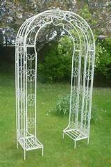 Details about Ornate Metal Garden Arch - Cream - Height 220cm