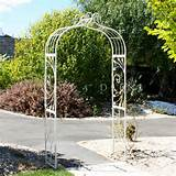 new large antique cream garden arch ornate iron metal cottage french