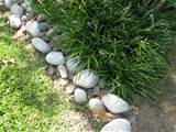 natural stone landscape edging ideas green lawn lallang