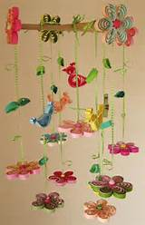 quilled baby mobile birds in rainbow garden 8a via etsy