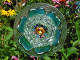 giveaway custom salvage glass garden art