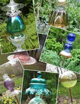 more old glass garden art