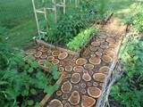 diy garden paths of wood slabs
