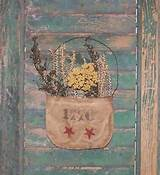 rustic floral pocket handmade by prairie primitives folk art