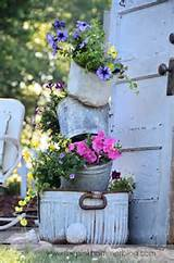primitive tipsy pot planters diy rustic garden decor