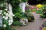 Cottage, Brick Patio Garden, Containers, Lillies Photograph
