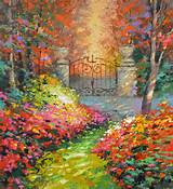 original painting contemporary in autumn garden modern art oil