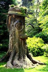 garden art - tree stump