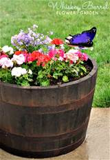 Outdoor Flower Pot Ideas Whiskey barrel flower garden