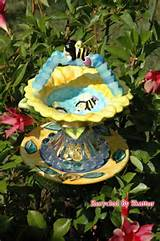 Whimsical Bird Feeder / Garden Yard Art by RecycledBySkattur, $25.00