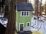 primitive birdhouse saltbox cedar green country rustic garden home