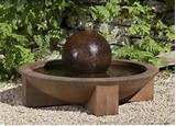 low zen sphere cast stone fountain contemporary outdoor fountains