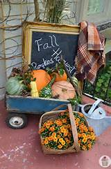 Front porch decorating is popular such as this fall vignette from ...