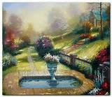 pintado a mano thomas kinkade paisaje pintura al óleo pintura jardín ...