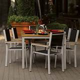 oxford garden travira 6 person sling patio dining set with stacking