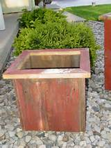 decor - primitive red barnwood garden flower box country decor rustic ...